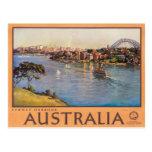 Poster das viagens vintage de Austrália do porto d Cartoes Postais