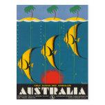 Poster das viagens vintage de Austrália Queensland Cartões Postais