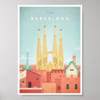 Poster das viagens vintage de Barcelona