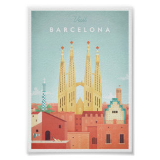 Poster das viagens vintage de Barcelona Pôster