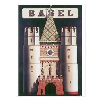 Poster das viagens vintage de Basileia Cartão Postal