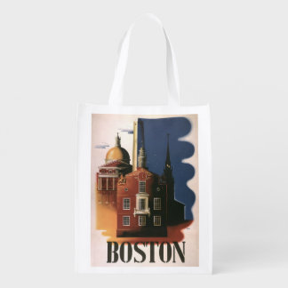 Poster das viagens vintage de Boston, Sacolas Reusáveis