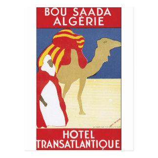Poster das viagens vintage de Bou Saada Algerie Cartão Postal