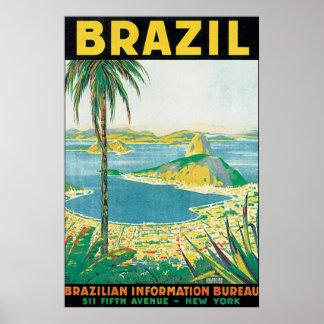 Poster das viagens vintage de Brasil