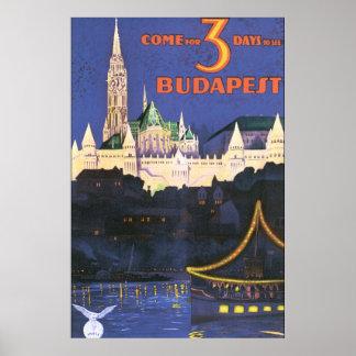 Poster das viagens vintage de Budapest