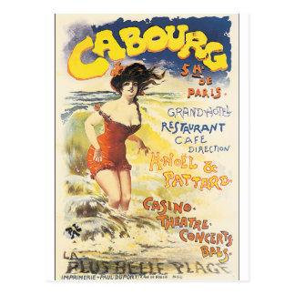 Poster das viagens vintage de Cabourg Cartão Postal
