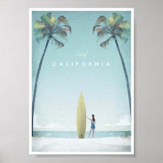 Poster das viagens vintage de Califórnia Pôster