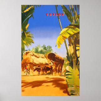 Poster das viagens vintage de Ceilão