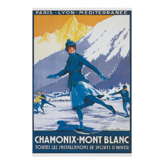 Poster das viagens vintage de Chamonix Mont Blanc Pôster