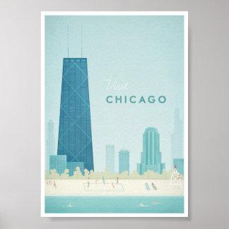 Poster das viagens vintage de Chicago Pôster