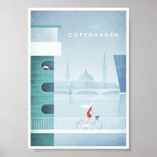 Poster das viagens vintage de Copenhaga