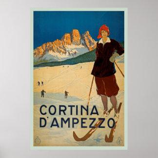Poster das viagens vintage de Cortina d'Ampezzo,