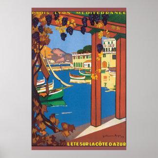Poster das viagens vintage de Cote d'Azur do La de Pôster