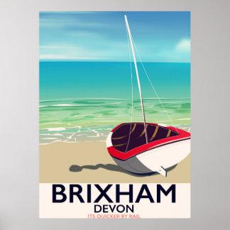 Poster das viagens vintage de Devon da praia de