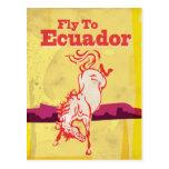 Poster das viagens vintage de Equador Cartão Postal