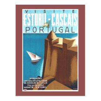 Poster das viagens vintage de Estoril-Cascais Cartão Postal