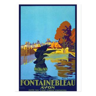 Poster das viagens vintage de Fontainebleau Cartão Postal