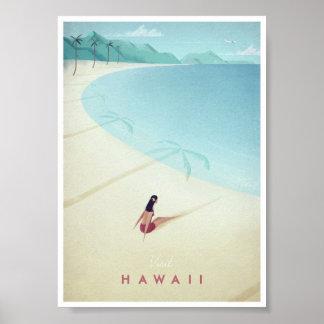 Poster das viagens vintage de Havaí