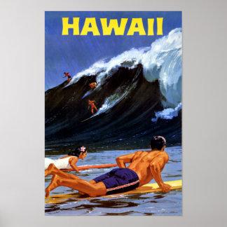 Poster das viagens vintage de Havaí restaurado