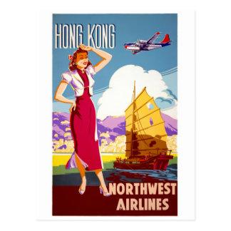 Poster das viagens vintage de Hong Kong restaurado Cartão Postal