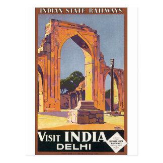 Poster das viagens vintage de India Deli da visita Cartão Postal