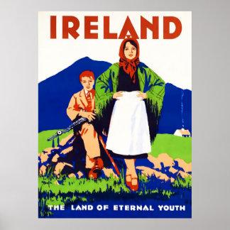 Poster das viagens vintage de Ireland