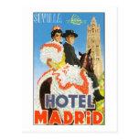 Poster das viagens vintage de Madrid do hotel Cartao Postal