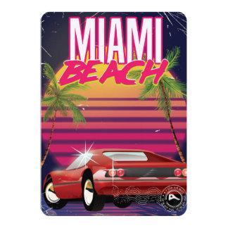 poster das viagens vintage de Miami Beach, florida Convite 12.7 X 17.78cm