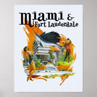Poster das viagens vintage de Miami, Florida
