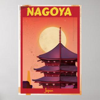 Poster das viagens vintage de Nagoya, Japão