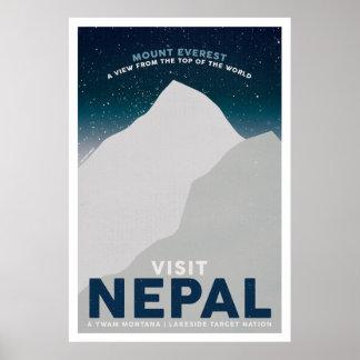 Poster das viagens vintage de Nepal Monte Everest