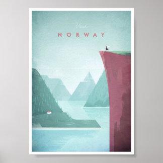 Poster das viagens vintage de Noruega Pôster