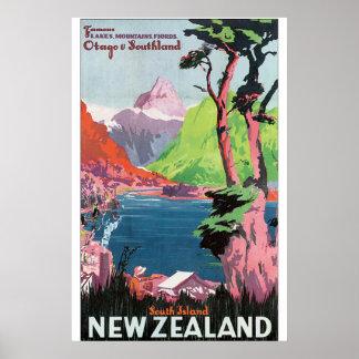Poster das viagens vintage de Nova Zelândia da