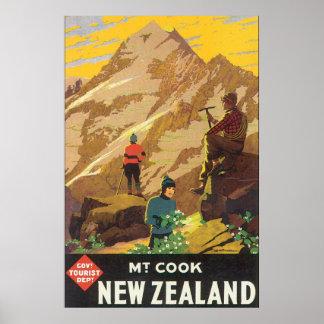 Poster das viagens vintage de Nova Zelândia do