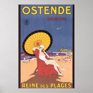 Poster das viagens vintage de Ostende-Belgique Pôster