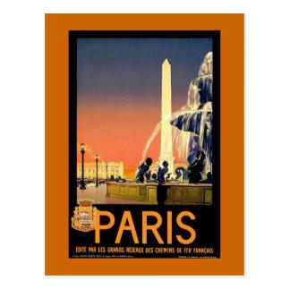 Poster das viagens vintage de Paris Cartão Postal