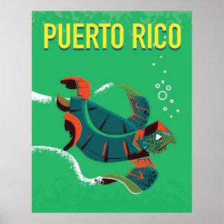 poster das viagens vintage de Puerto Rico