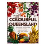 Poster das viagens vintage de Queensland Austrália Cartao Postal