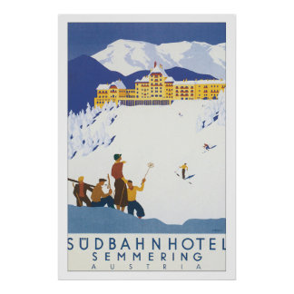 Poster das viagens vintage de Semmering do hotel Pôster