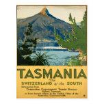 Poster das viagens vintage de Tasmânia Austrália Cartao Postal