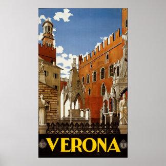 Poster das viagens vintage de Verona Italia