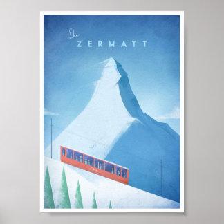 Poster das viagens vintage de Zermatt do esqui Pôster