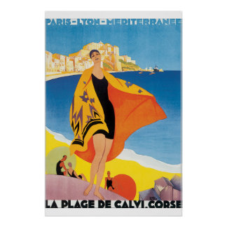 Poster das viagens vintage do de Calvi Corse do Pôster
