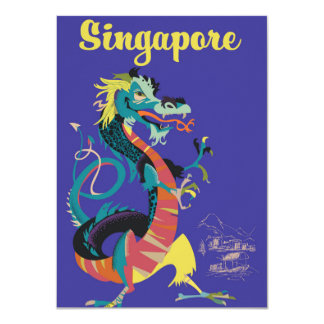 Poster das viagens vintage do dragão de Singapore Convite 11.30 X 15.87cm