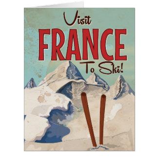 Poster das viagens vintage do esqui de France Cartão Comemorativo Grande