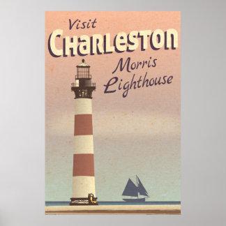 Poster das viagens vintage do farol de Charleston
