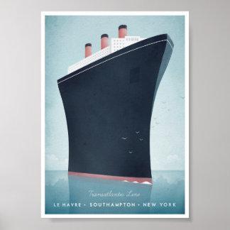 Poster das viagens vintage do forro de oceano pôster