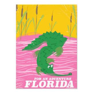 Poster das viagens vintage do jacaré de Florida Impressão De Foto