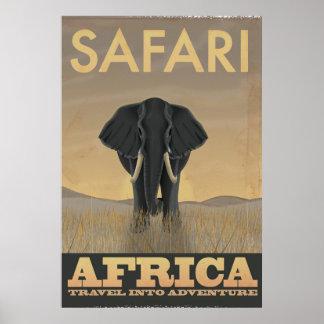 Poster das viagens vintage do safari de África do