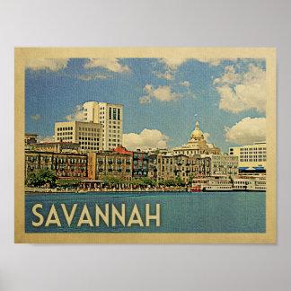 Poster das viagens vintage do savana